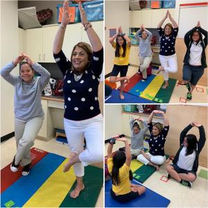 Maria Hernandez teaching yoga to special needs children