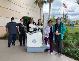 Keiser University Daytona Beach campus Radiologic Technology program leaders thank AdventHealth for their donation.